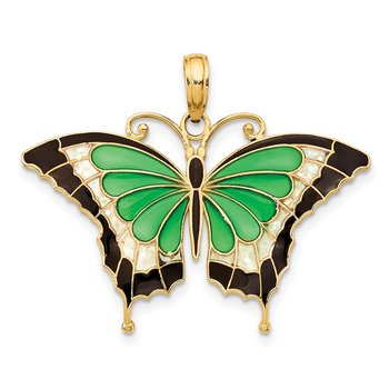 14K Green Enameled Butterly Pendant