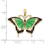 Quality Gold 14K Green Enameled Butterly Pendant