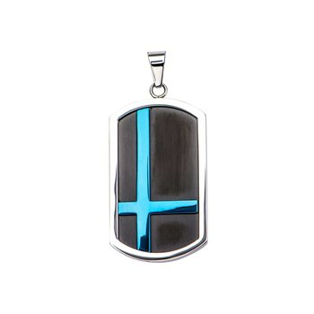 Thin Blue Plated Line In Black Plated Dog Tag Pendant With Matte Black Round Wheat Chain