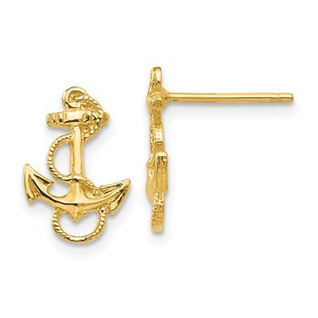 14K Anchor with Rope Trim Post Earrings