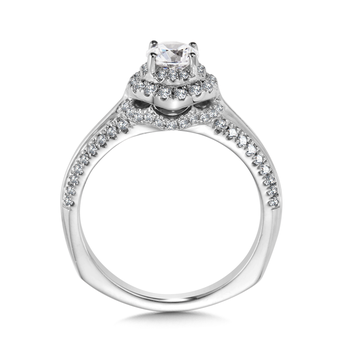 Halo Engagement Ring Mounting in 14K White Gold (.41 ct. tw.)