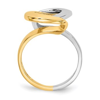 14K Two-tone Fashion Swirl O Ring