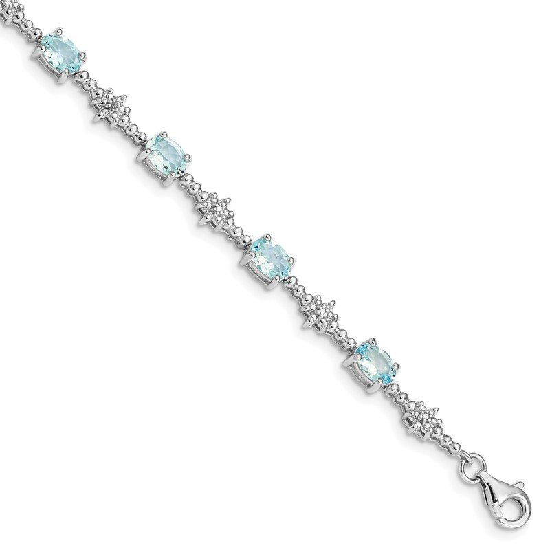 Quality Gold Sterling Silver Rhodium-plated Aquamarine and Diamond Bracelet