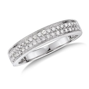 Pave set Diamond Stackable Wedding Ring in 14k White Gold (1/4ct. tw.) HI/I1