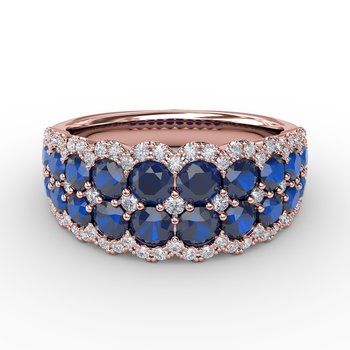 Get Sentimental Sapphire and Diamond Double Row Ring