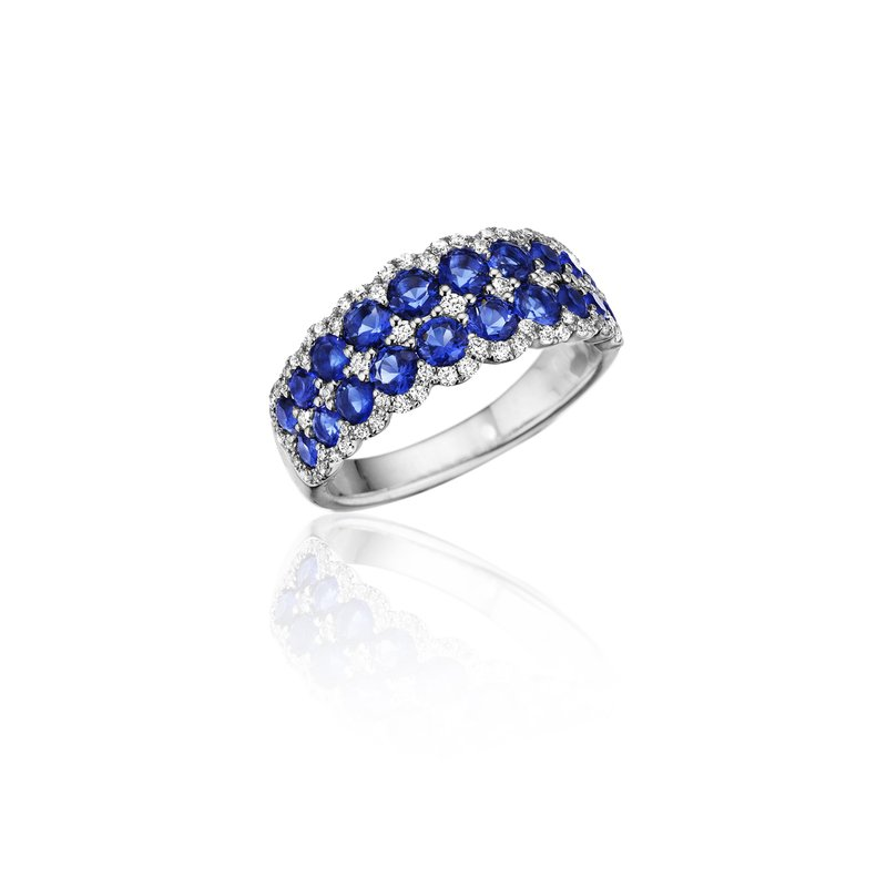 Fana Get Sentimental Sapphire and Diamond Double Row Ring