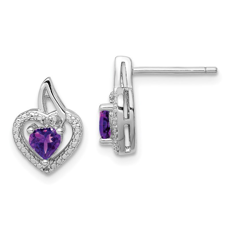 Quality Gold Sterling Silver Rhodium-plated Amethyst Diamond Earrings