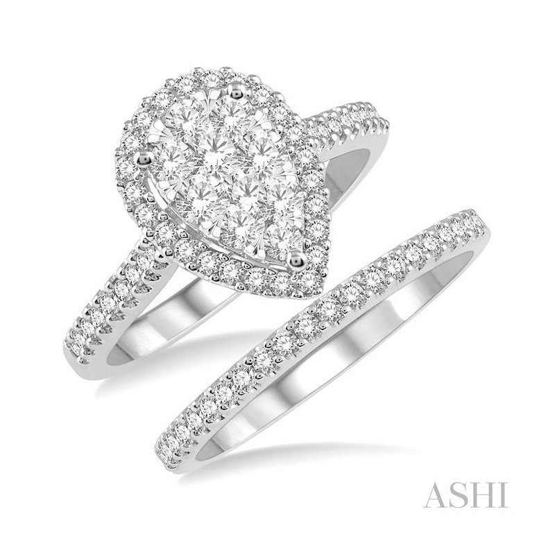 ASHI pear shape lovebright essential diamond wedding set