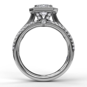 Classic Radiant Halo With Triple Pave Band Engagement Ring