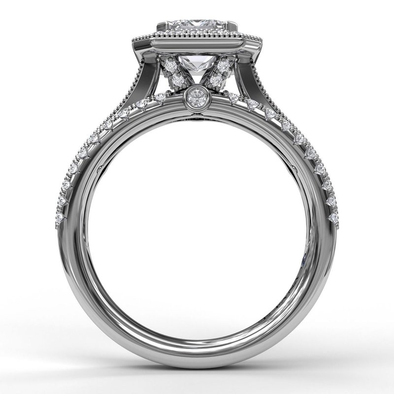 Fana Classic Radiant Halo With Triple Pave Band Engagement Ring