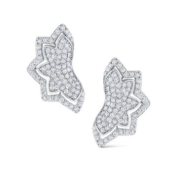Diamond Half Flower Earrings Set in 14 Kt. Gold