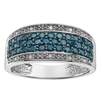 Enhanced Col.blue Diamond Anniversary Ring