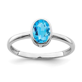 Sterling Silver Rhodium-plated Polished Blue Topaz Oval Ring
