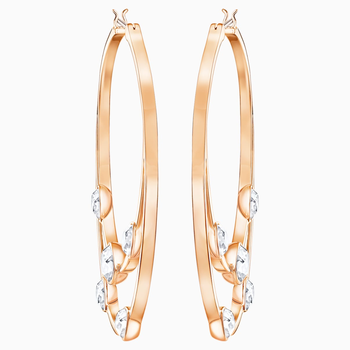 Gaze Hoop Pierced Earrings, White, Rose-gold tone plated