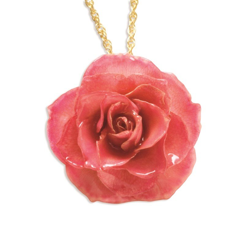 Quality Gold Lacquer Dipped Pink Rose with 20 inch Gold-tone Necklace