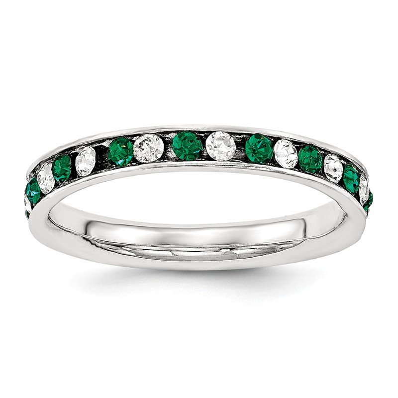 Lester Martin Online Collection Sterling Silver Green & White CZ Eternity Band