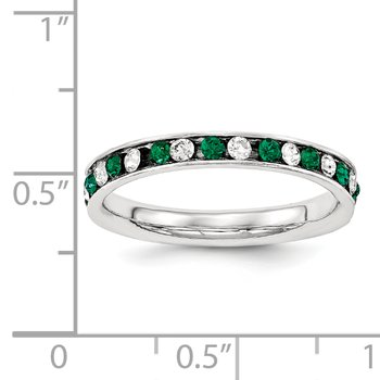 Sterling Silver Green & White CZ Eternity Band