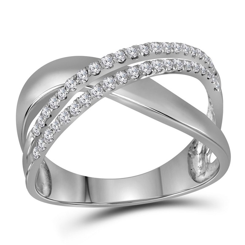 Kingdom Treasures 10kt White Gold Womens Round Diamond Crossover Band Ring 3/8 Cttw