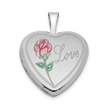 Sterling Silver Rhodium-plated 16mm Enameled & D/C Love Heart Locket
