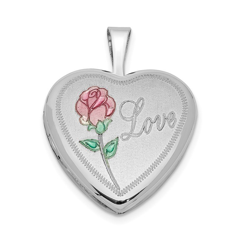 Quality Gold Sterling Silver Rhodium-plated 16mm Enameled & D/C Love Heart Locket
