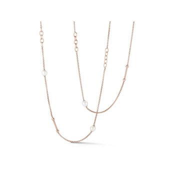 Chain Reaction Carnation Stainless Steel Necklace with Pearls