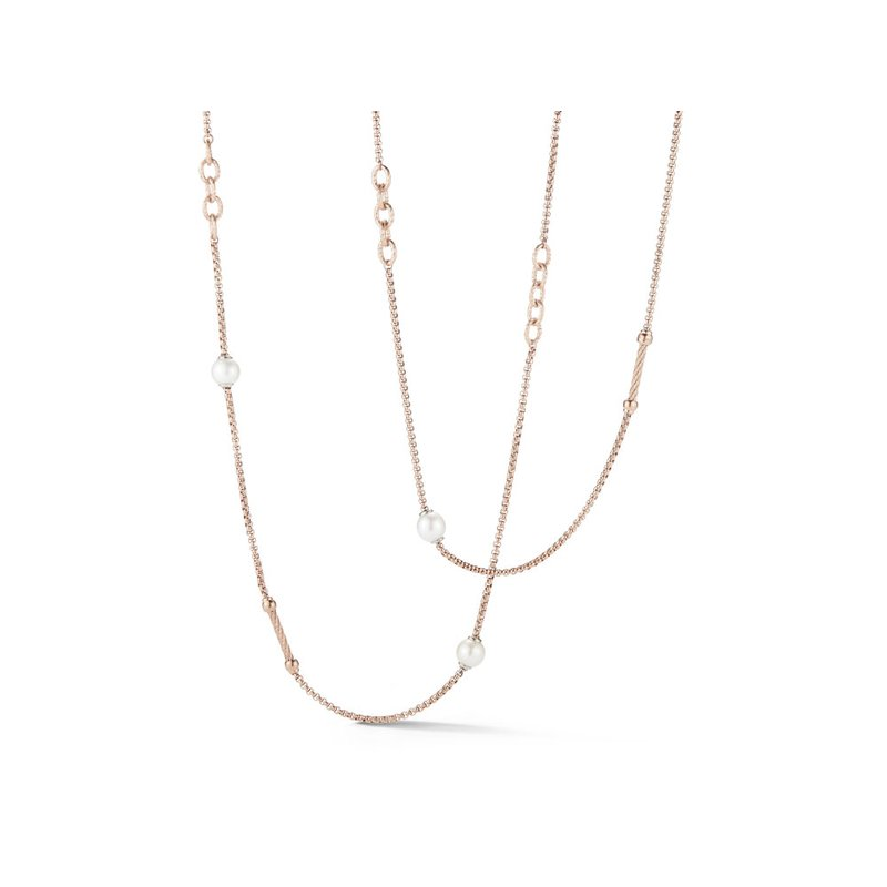 ALOR Chain Reaction Carnation Stainless Steel Necklace with Pearls