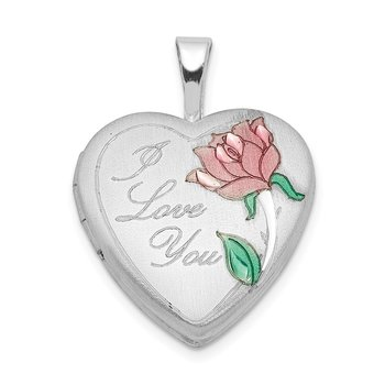 Sterling Silver Rhodium-plated 16mm Satin, Enameled, D/C I Love You Heart