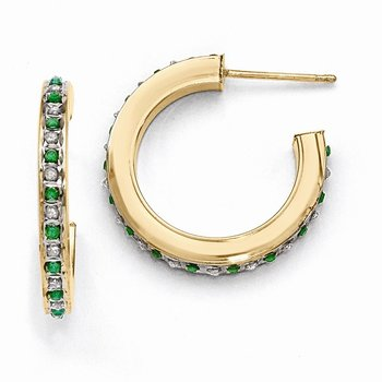 Sterling Silver & Gold-plated Diamond & Emerald Round Post Hoop Earrings