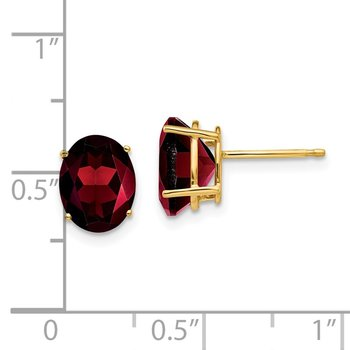 14k 9x7mm Oval Garnet Earrings