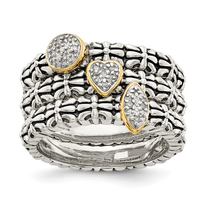 Shey Couture Sterling Silver w/14k Diamond 3 Stackable Rings