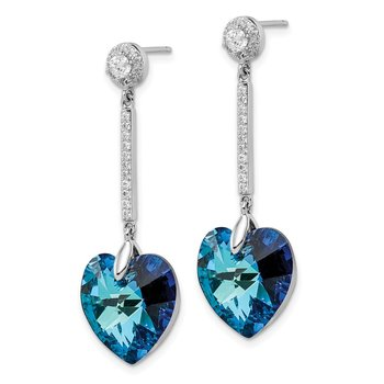 Sterling Silver RH-plated Clear/Blue Crystal Heart Dangle Post Earrings