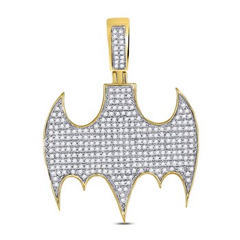 10kt Yellow Gold Mens Round Diamond Batman Logo Charm Pendant 7/8 Cttw