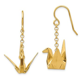 Sterling Silver Gold-plated Origami Crane Dangle Earrings