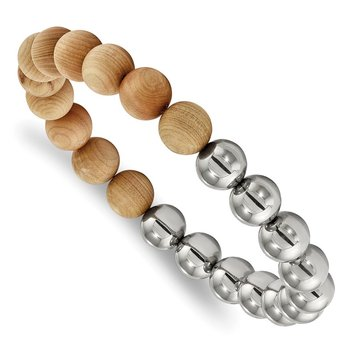 Stainless Steel Stretch Polished Beads with Cypress Wood Bracelet
