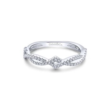 14K White Gold Twisted Diamond Stackable Ladies Ring