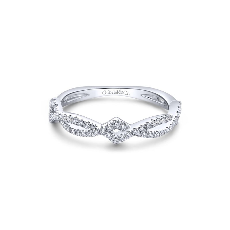 Amavida 14K White Gold Twisted Diamond Stackable Ladies Ring