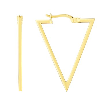 14K Gold Triangle Hoops Earrings