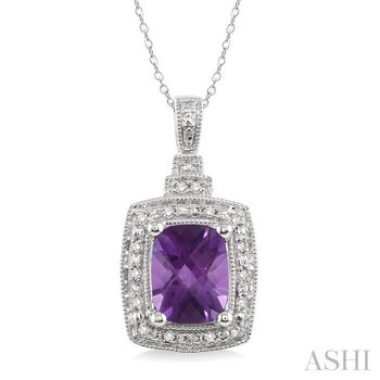 silver gemstone & diamond pendant