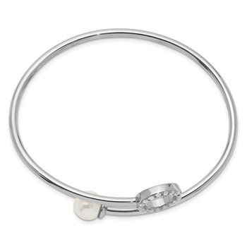 Sterling Silver Rh-pl Imitation Shell Pearl and CZ Flexible Bangle