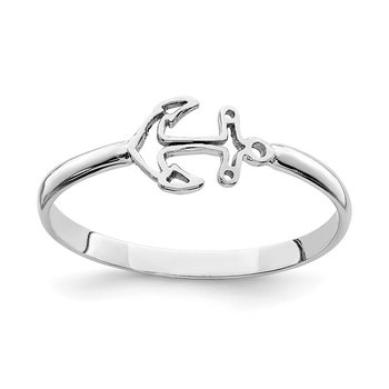 14K White Polished Anchor Ring