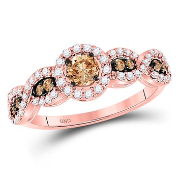 14kt Rose Gold Womens Round Brown Color Enhanced Diamond Solitaire Ring 3/4 Cttw