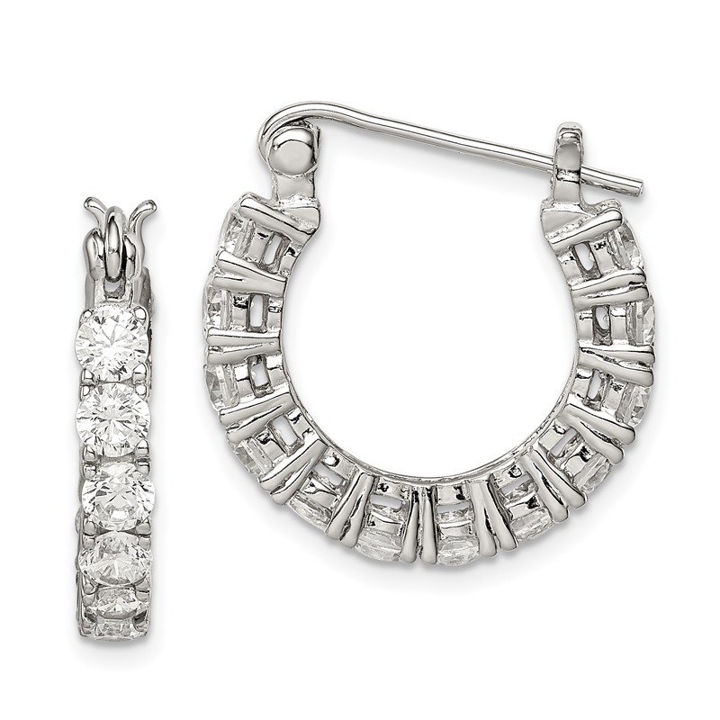 Quality Gold Sterling Silver CZ Hoop Earrings