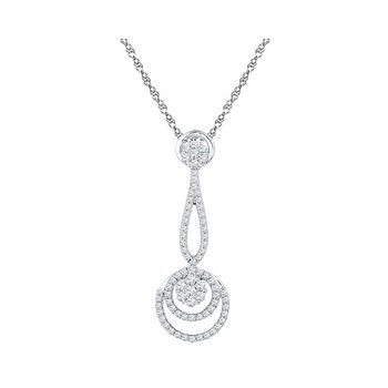 10kt White Gold Womens Round Diamond Dangling Cluster Pendant 3/4 Cttw