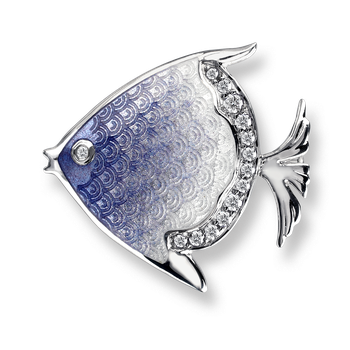 Sterling Silver Angelfish Brooch-Purple. White Sapphires.