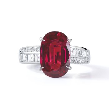 Platinum 5.12ct Ruby Ring