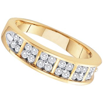 14kt Yellow Gold Womens Round Diamond Double Row Band Ring 1/2 Cttw