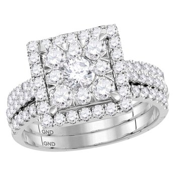 14kt White Gold Womens Round Diamond Square 3-Piece Bridal Wedding Engagement Ring Band 3-Piece Set 2.00 Cttw