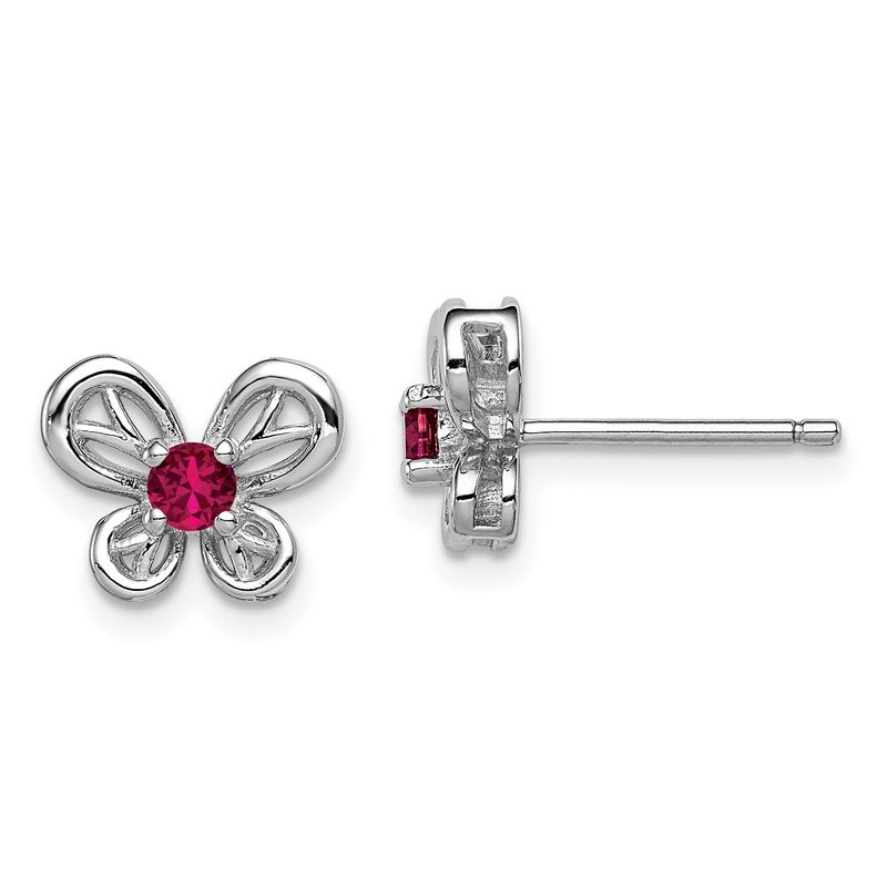 Quality Gold Sterling Silver Rhodium-plated Created Ruby Earrings