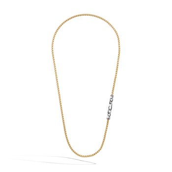 4MM Box Chain Necklace in Silver and 18K Gold