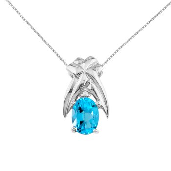 14k White Gold 7x5 mm Blue Topaz and Diamond Oval Shaped Pendant